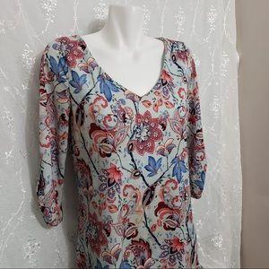❄️3/$50 Blue Multicolour V-Neck 3/4 Sleeve Dress